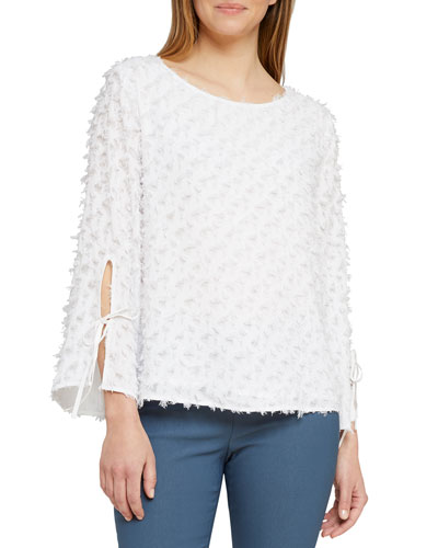 Clip It Up Split-Sleeve Textured Top