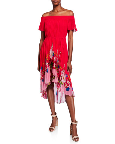 Berry Sundae Bardot Floral Off-the-Shoulder Pleated High-Low Dress