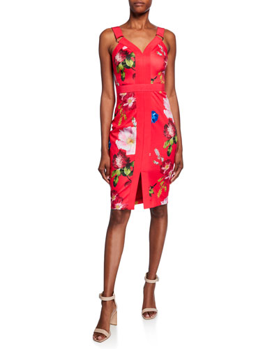 Berry Sundae Floral-Print Sleeveless Body-Con Dress