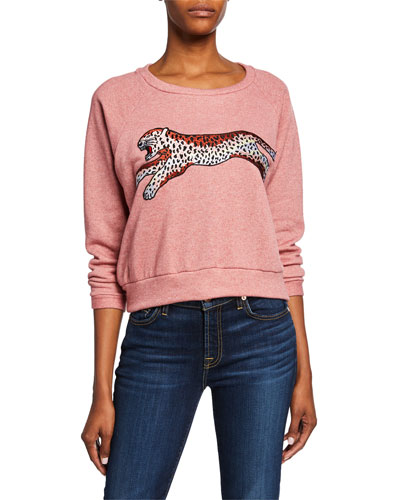 Cheetah Graphic Stretch Fleece Sweatshirt