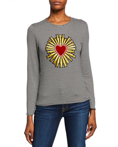 The Madonna Striped Heart/Halo Long-Sleeve Crewneck Top