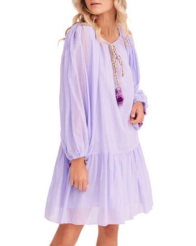 Pea Drop-Waist Long-Sleeve Short Dress
