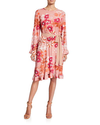 Floral Wide-Sleeve Belted Luxe Jersey Dress