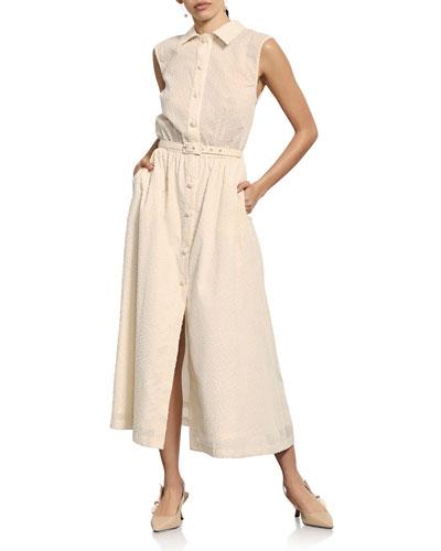 Charlotte Textured Sleeveless Shirtdress