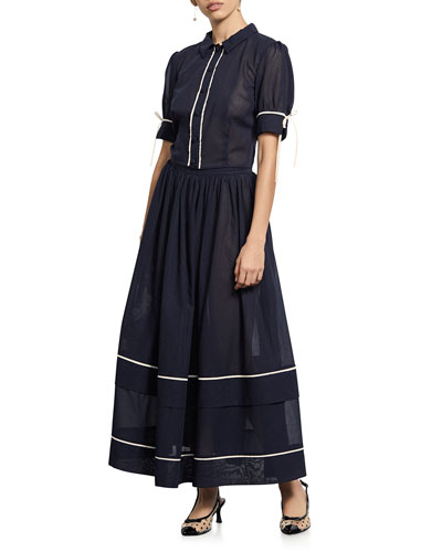 Delphine Tiered Cotton Long Skirt