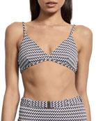Amaio Swim Fleur Jacquard Triangle Bikini Top