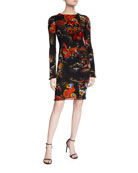 Fuzzi Butterfly Long-Sleeve Mini Dress