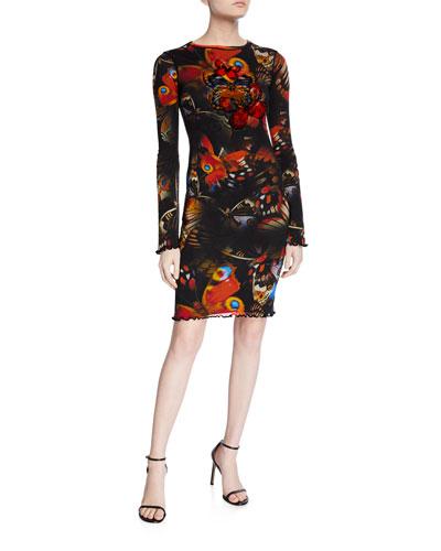 Butterfly Long-Sleeve Mini Dress