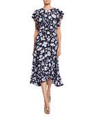 kate spade new york splash floral keyhole flutter-sleeve