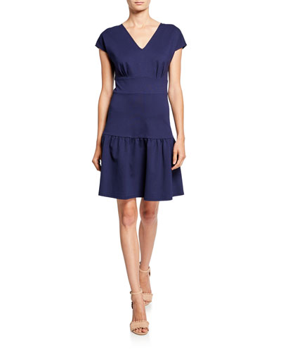 v-neck cap-sleeve ponte flounce dress