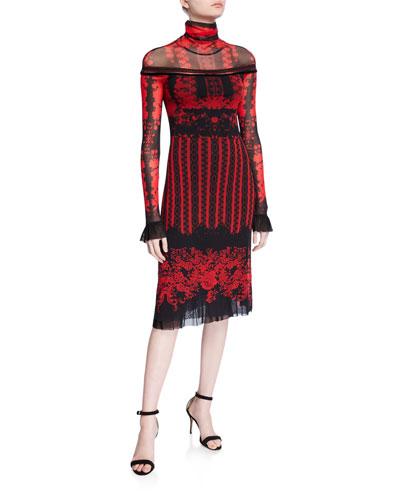 Andalusia Long-Sleeve Turtleneck Dress