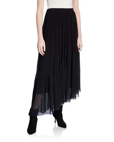 Long Solid Asymmetric Skirt