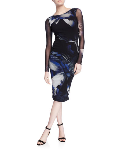 Butterfly Long-Sleeve Fitted Knee-Length Dress