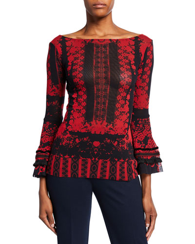 Andalusia Printed Boat-Neck Bell-Sleeve Top