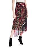Fuzzi Geometrico Asymmetric Midi Skirt