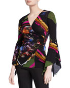 Fuzzi Patchwork Flower V-Neck Top w/ Dramatic Sleeves