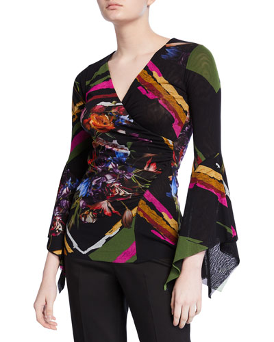 Patchwork Flower V-Neck Top w/ Dramatic Sleeves