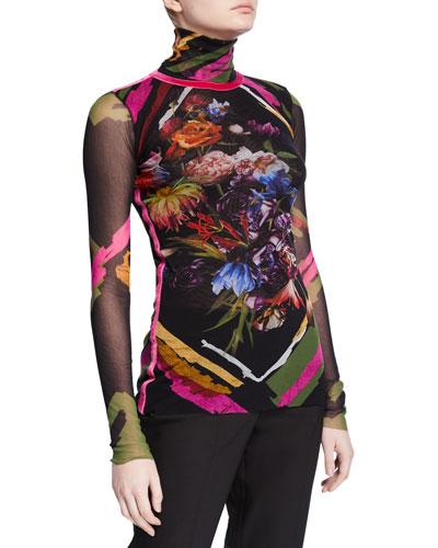 Patchwork Long-Sleeve Turtleneck Top w/ Pink Velvet Stripe