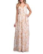 A La Plage Floral Strappy Tiered Maxi Dress