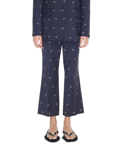 Cropped Mid-Rise Boot-Cut Trouser with Ant Embroidery