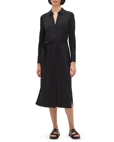 Plus Size Rea Long-Sleeve Matte Jersey Shirtdress