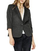 James Jeans Shrunken One-Button 3/4-Sleeve Tuxedo Jacket