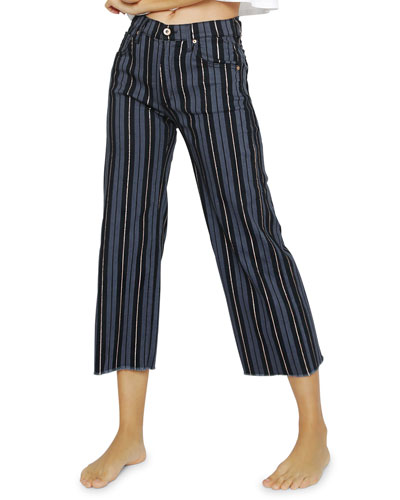 Carlotta Striped High-Rise Jeans w/ Frayed Hem