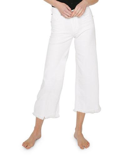 Carlotta High-Rise Jeans w/ Frayed Hem