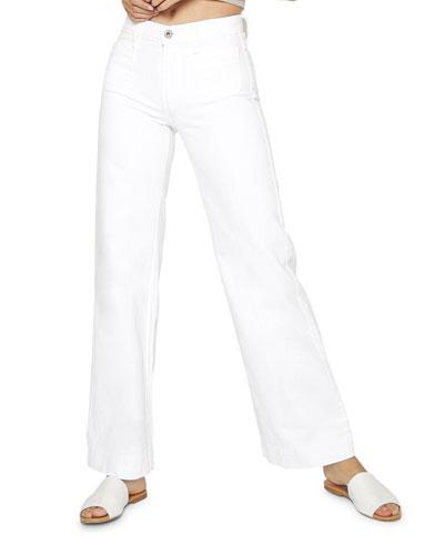 Caroline Flat Patch Pocket Wide-Leg Jeans