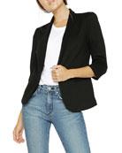 James Jeans Shrunken One-Button 3/4-Sleeve Tuxedo Jacket, Black