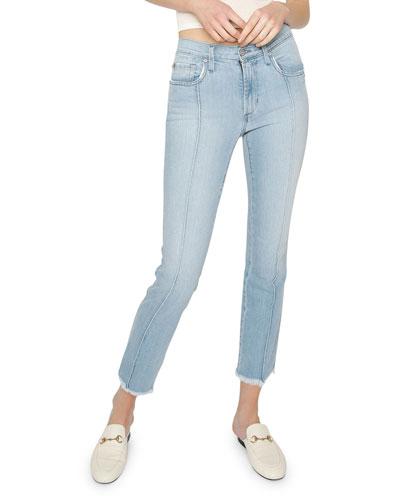 Piper Cropped Skinny Jeans w/ Frayed Hem