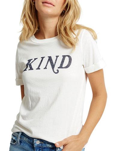 Kind Crewneck Rolled Short-Sleeve Cotton T-Shirt