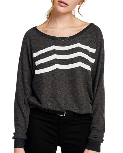 Waves Boat-Neck Long-Sleeve Pullover Top