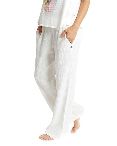 Wide-Leg Textured Crepe Pull-On Pants