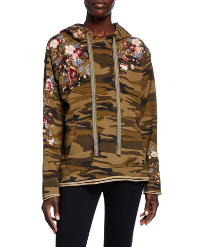 Plus Size Kira Camo French-Terry Hoodie Pullover w/ Floral Embroidery