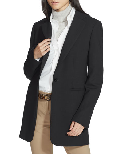 Beau Luxe Italian One-Button Double-Face Blazer