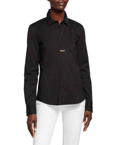 Phaedra Italian Stretch Cotton Long-Sleeve Blouse