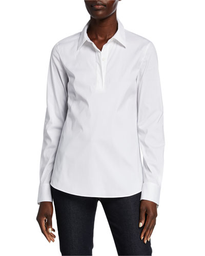 Long-Sleeve Italian Stretch-Cotton Blouse