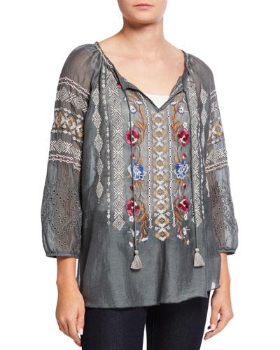 Angelique Cotton/Silk Embroidered 3/4-Sleeve Tassel Top