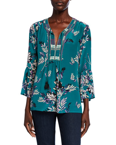 Plus Size Printed Flare-Sleeve Velvet Blouse w/ Embroidered Trim