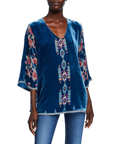 Plus Size V-Neck 3/4-Sleeve Burnout-Print Silk Velvet Top