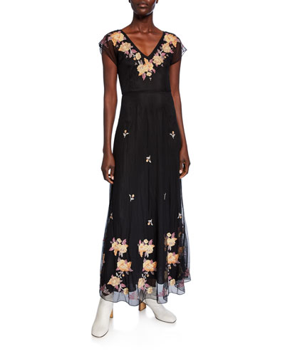 Sarah V-Neck Embroidered Mesh Maxi Dress
