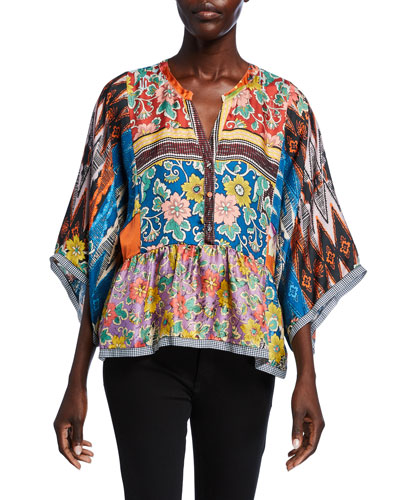 Miranda Mixed-Print V-Neck Heavy Silk Twill Short Top