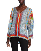 Johnny Was Dragon Printed V-Neck Long-Sleeve Scallop-Edge Silk
