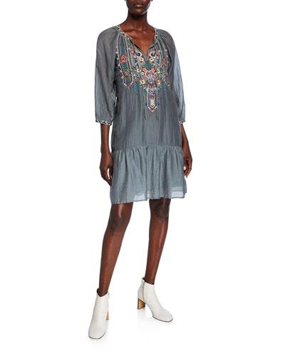 Raquel Embroidered Split-Neck Boho Flounce Dress