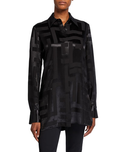 Graphic Jacquard Long-Sleeve Button-Down Shirt