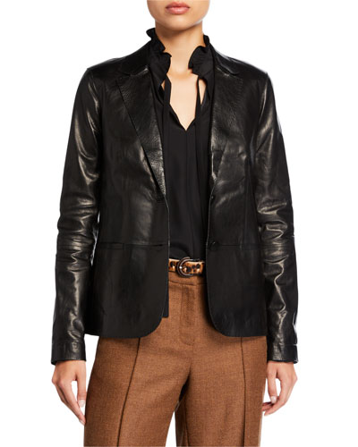 Two-Button Glazed Weightless Lambskin Jacket