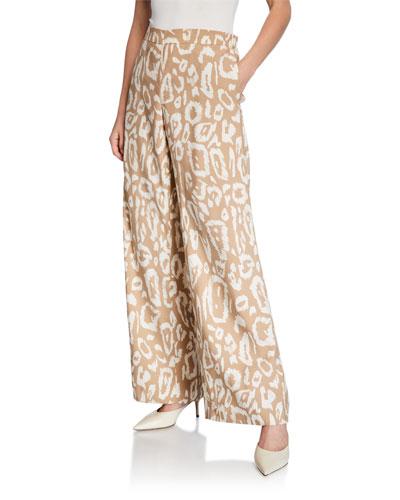 Riverside Painted Leopard Drape Cloth Ankle Pants