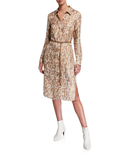 Painted Leopard Long-Sleeve Silk Shirtdress w/ Leather Belt