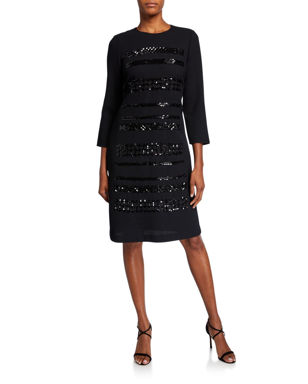 Lafayette 148 Dresses GIOVANETTA EMBELLISHED NOUVEAU CREPE 3/4-SLEEVE SHEATH DRESS
